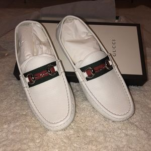 White Gucci Loafers with Silver Detailing